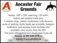 Ancaster Fair Grounds -  Indoor 100' x 220' sand ring, 120 stalls